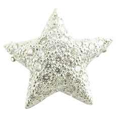 Vintage 14 Karat White Gold and Diamond Star Pendant/Brooch