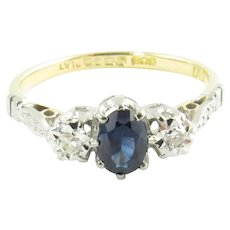Vintage Platinum and 18K White Gold Sapphire and Diamond Ring Size 7.5