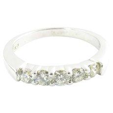 Vintage 14 Karat White Gold and Diamond Wedding Band Size 6