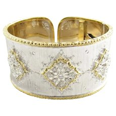 Vintage 18 Karat White/Yellow Gold and Diamond Bandini Cuff Bracelet