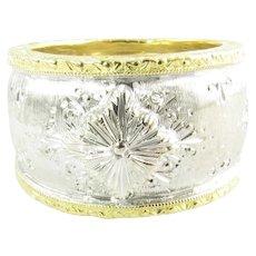 Vintage 18 Karat White and Yellow Gold Cigar Band Ring Size 5.25