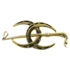 Vintage 10 Karat Yellow Gold Equestrian Brooch/Pin