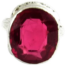 Vintage 14 Karat White Gold Filigree and Simulated Ruby Ring Size 6.25