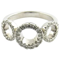 Roberto Coin 18 Karat White Gold and Diamond Ring Size 6.5