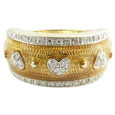 Vintage 14 Karat Yellow Gold Enamel and Diamond Ring Size 7.75