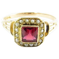 Vintage 10 Karat Yellow Gold Ruby and Pearl Ring Size 8.75