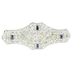 Vintage 14 Karat White Gold Diamond and Sapphire Brooch/Pin