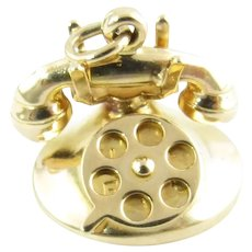 "Vintage 14 Karat Yellow Gold ""I LOVE U"" Rotary Telephone Charm"