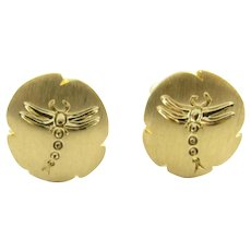 Vintage Tiffany & Co. 18 Karat Yellow Gold Dragonfly Clip-On Earrings