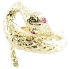 Vintage 14 Karat Yellow Gold and Ruby Snake Ring Size 5