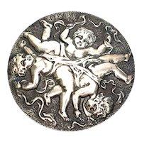 Antique Victorian Sterling Silver Large Round Cherub Pin