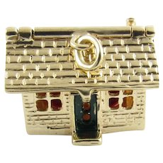 Vintage 14 Karat Yellow Gold Articulated House Charm