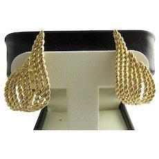 Vintage Tiffany & Co 18 Karat Yellow Gold Feather Earrings