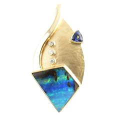 Vintage 14 Karat Yellow Gold Opal, Tanzanite and Diamond Pendant