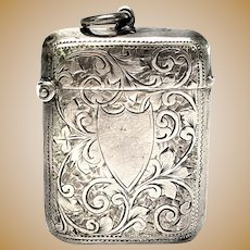 Antique English Sterling Silver Match Safe/Vesta Case, No Monogram