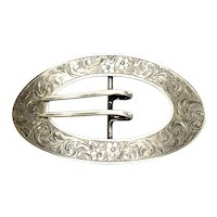 Vintage Sterling Silver Chased Repousse Sash Buckle