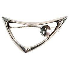 Vintage Just Andersen Denmark Sterling Silver Modernist Boomerang Pin #777