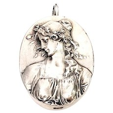 """Henryk Winograd .999 Silver High Relief Repousse Cameo Pin """"Primavera"""""""