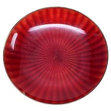 David Andersen Sterling Silver Red Enamel Dish