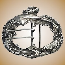 Antique William B Kerr Art Nouveau Sterling Silver Mermaid & Lobster Sash Buckle #1143