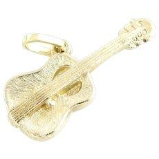 Vintage 14 Karat Yellow Gold Guitar Charm