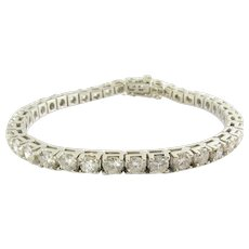 Vintage 14K White Gold Round Brilliant Diamond Tennis Bracelet 9.75cts