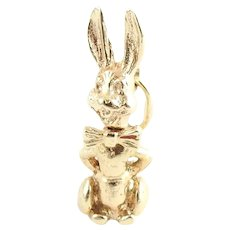 Vintage 14 Karat Yellow Gold Bobble Head Rabbit Charm