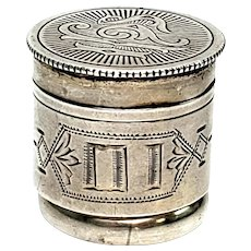 Antique Swift & Fisher Sterling Silver Priest's Ring Anointing Oil Jar, Size 11