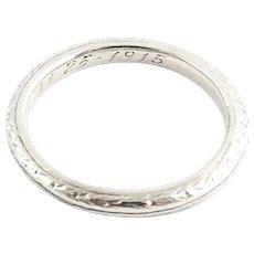Vintage Platinum Wedding Band Size 5.5