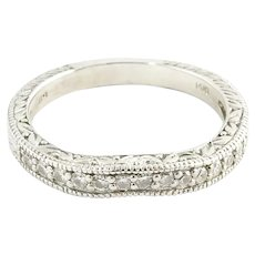 Vintage 14 Karat White Gold Diamond Wedding Band Size 7.5