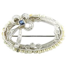 Vintage 10 Karat White Gold Bead and Sapphire Brooch/Pin