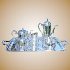 Vintage Tiffany & Co Sterling Silver 6 Piece Coffee and Tea Set, With Monogram