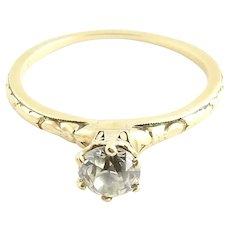 Vintage 14 Karat Yellow Gold Diamond Engagement Ring Size 4.75