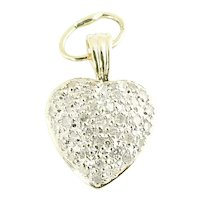 Vintage 14 Karat Yellow Gold Diamond Heart Pendant
