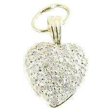 Vintage 14 Karat Yellow Gold Diamond Heart Pendant
