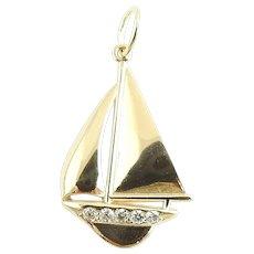 Vintage 14 Karat Yellow Gold and Diamond Sailboat Charm
