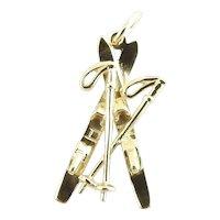 Vintage 14 Karat Yellow Gold Skis Charm
