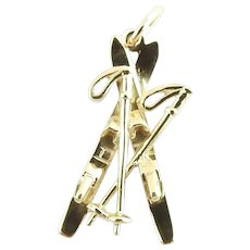 Vintage 14 Karat Yellow Gold Skis Charm