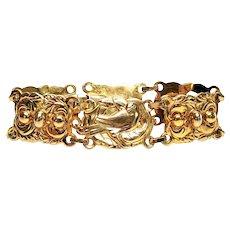 Vintage Gold Vermeil Over Sterling Silver Sterling Craft by Coro Panel Bracelet