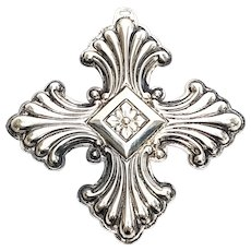 Vintage Reed & Barton Sterling Silver 1973 Christmas Cross Ornament