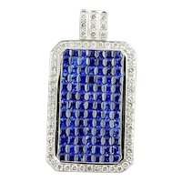 Vintage 18 Karat White Gold Sapphire and Diamond Pendant