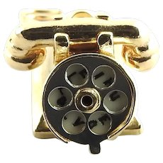 "Vintage 14 Karat Yellow Gold ""HELLO"" and "" I LOVE U"" Rotary Dial Telephone Charm"