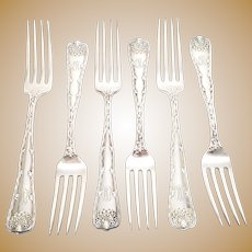 Set of 6 Tiffany & Co Sterling Silver Wave Edge Luncheon Forks, With Monogram, 7""