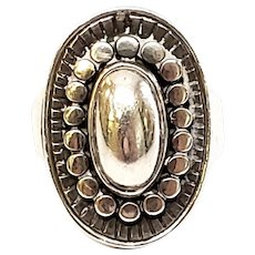Vintage Just Andersen Denmark Sterling Silver Oval Beaded Ring, Size 5.5