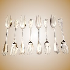 Set of 8 Tiffany & Co Sterling Silver Palm Pie Forks with Engraving