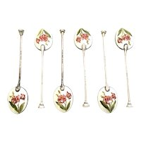 Set of 6 Vintage English Sterling Silver Flower Enamel Demitasse Spoons by Henry Clifford Davis, Ltd.