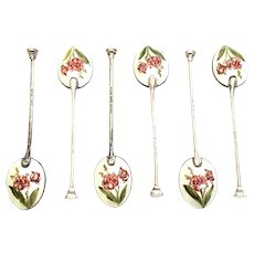 Set of 6 Vintage English Sterling Silver Flower Enamel Demitasse Spoons by Henry Clifford Davis, Ltd.