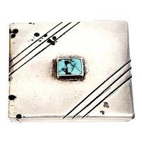 Morris Robinson Hopi Native American Sterling Silver Turquoise Pill Trinket Box