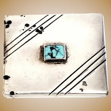 Morris Robinson Hopi Native American Sterling Silver Turquoise Pill Trinket Box