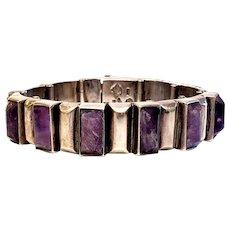 """Vintage Taxco Mexico Antonio Pineda 970 Silver Amethyst Link Bracelet 6 1/4"""""""
